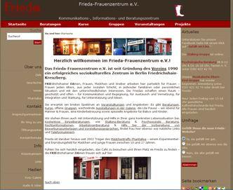 Sreenshot der Webseite des Frauenzetrums FRIEDA